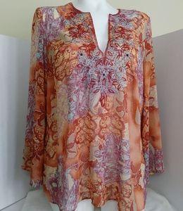Lane Bryant shear, sleeved, multi colored tunic